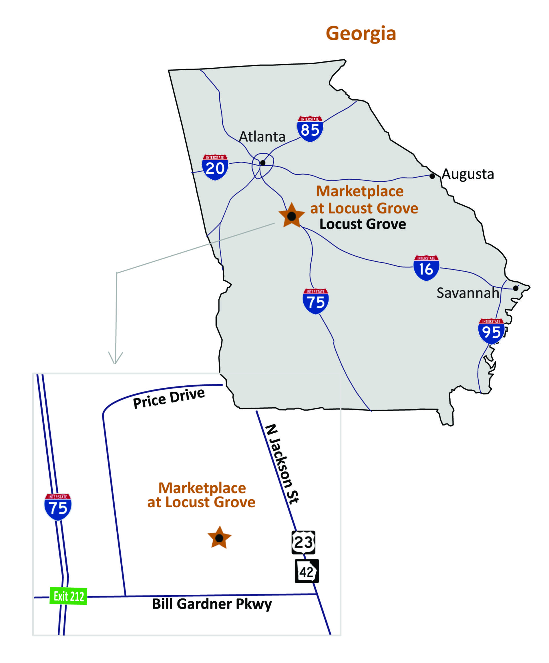 Locust Grove GA Marketplace At Locust Grove Retail Space For - Georgia map locust grove